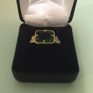 Fashion ring, NEW, size 7, green and clear stones